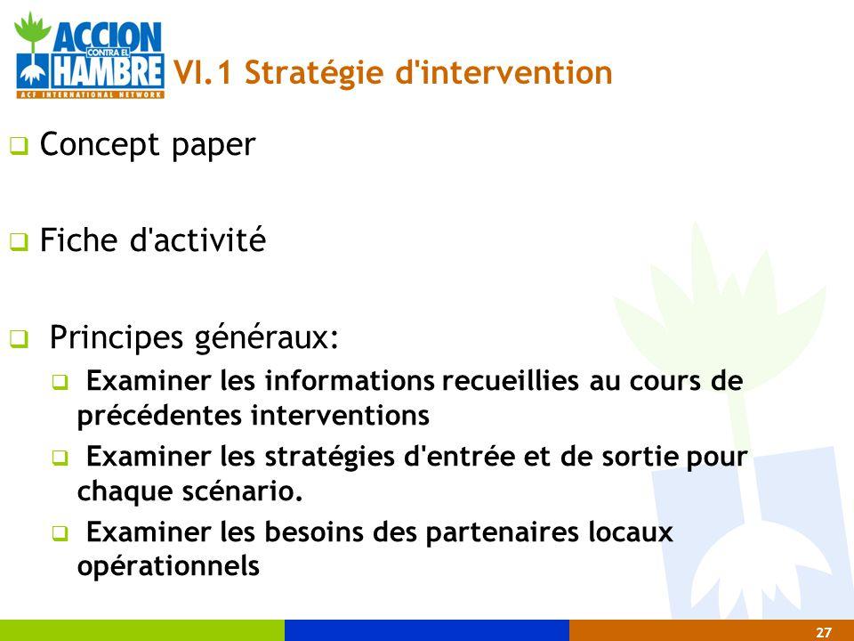 27 VI.1 Stratégie d'intervention  Concept paper  Fiche d'activité  Principes généraux:  Examiner les informations recueillies au cours de précéden