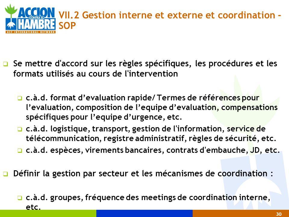 30 VII.2 Gestion interne et externe et coordination - SOP  Se mettre d'accord sur les règles spécifiques, les procédures et les formats utilisés au c