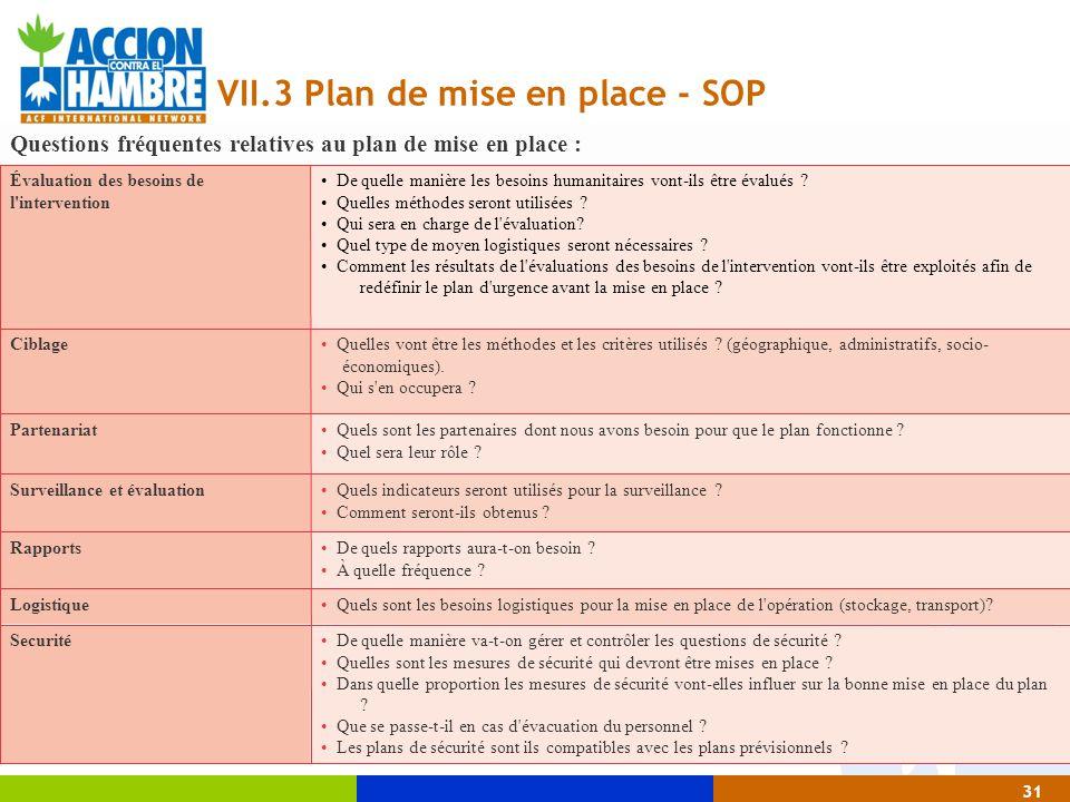 31 VII.3 Plan de mise en place - SOP De quelle manière va-t-on gérer et contrôler les questions de sécurité ? Quelles sont les mesures de sécurité qui