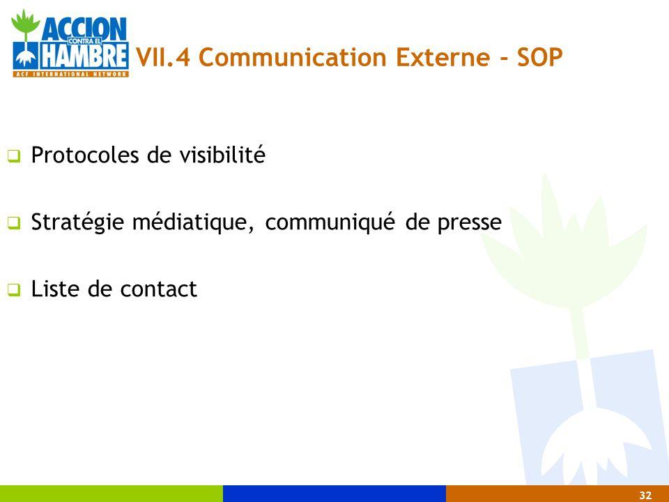 32 VII.4 Communication Externe - SOP  Protocoles de visibilité  Stratégie médiatique, communiqué de presse  Liste de contact