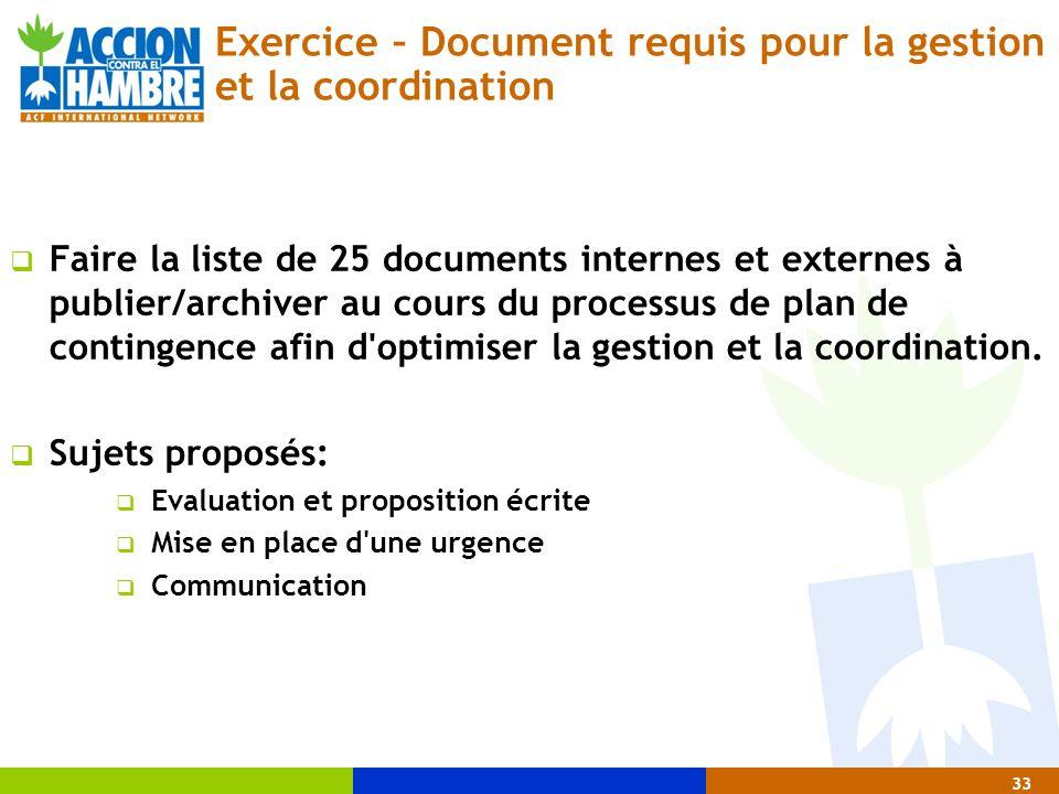 33 Exercice – Document requis pour la gestion et la coordination  Faire la liste de 25 documents internes et externes à publier/archiver au cours du