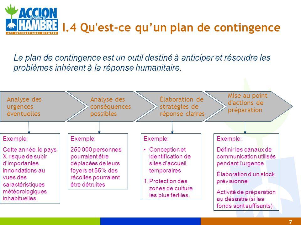7 I.4 Qu'est-ce qu'un plan de contingence Analyse des urgences éventuelles Analyse des conséquences possibles Élaboration de stratégies de réponse cla