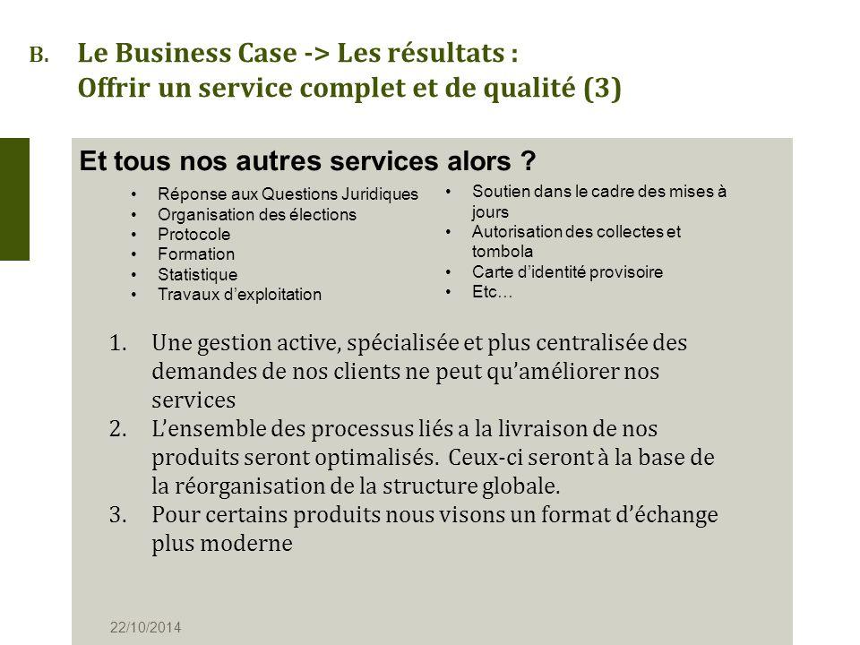 B. Le Business Case -> Les résultats : Offrir un service complet et de qualité (3) Et tous nos autres services alors ? 22/10/2014 Réponse aux Question