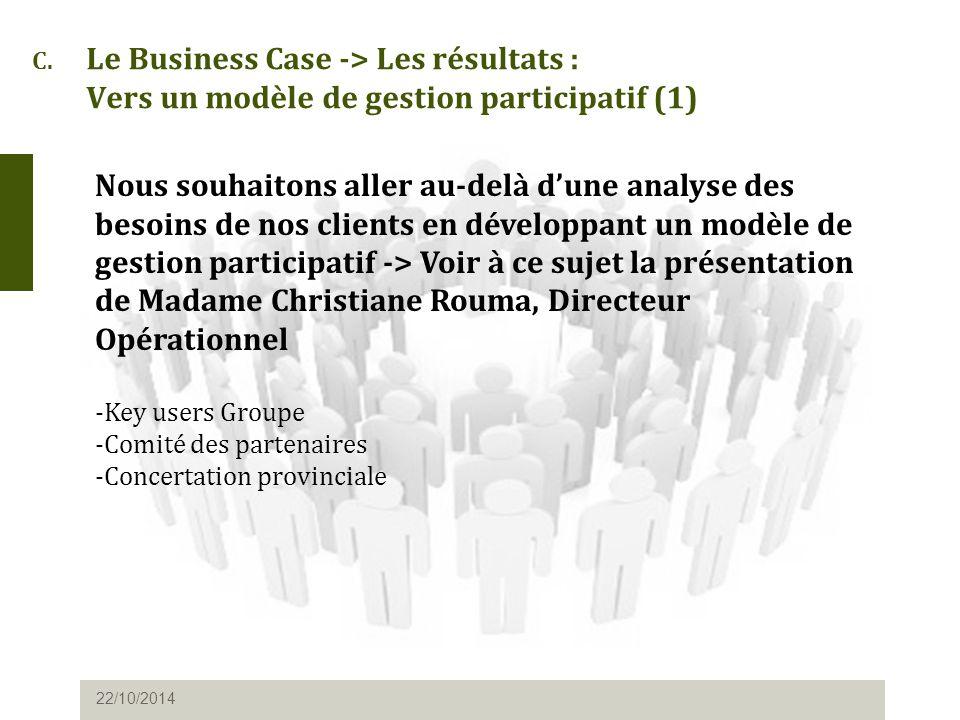 C. Le Business Case -> Les résultats : Vers un modèle de gestion participatif (1) 22/10/2014 Nous souhaitons aller au-delà d'une analyse des besoins d