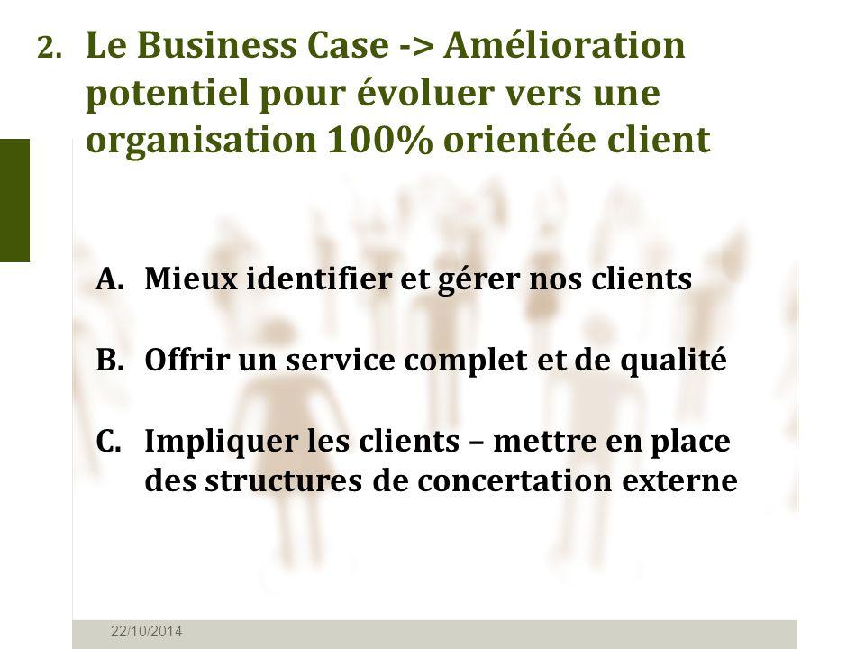 2. Le Business Case -> Amélioration potentiel pour évoluer vers une organisation 100% orientée client 22/10/2014 A.Mieux identifier et gérer nos clien
