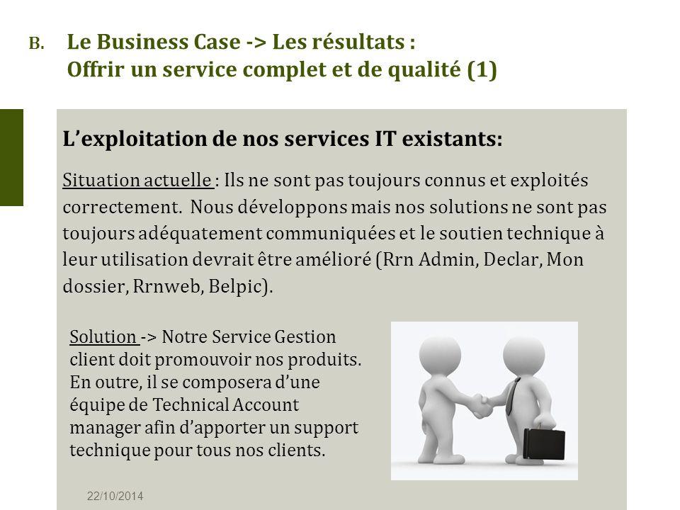 B. Le Business Case -> Les résultats : Offrir un service complet et de qualité (1) L'exploitation de nos services IT existants: Situation actuelle : I
