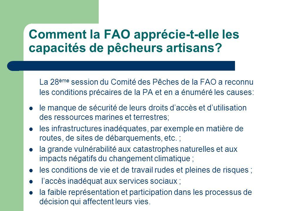 Comment la FAO apprécie-t-elle les capacités de pêcheurs artisans.