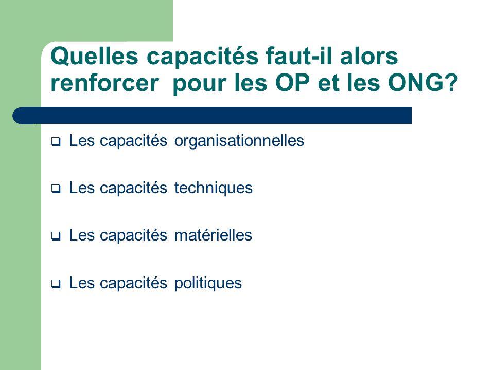 Quelles capacités faut-il alors renforcer pour les OP et les ONG.