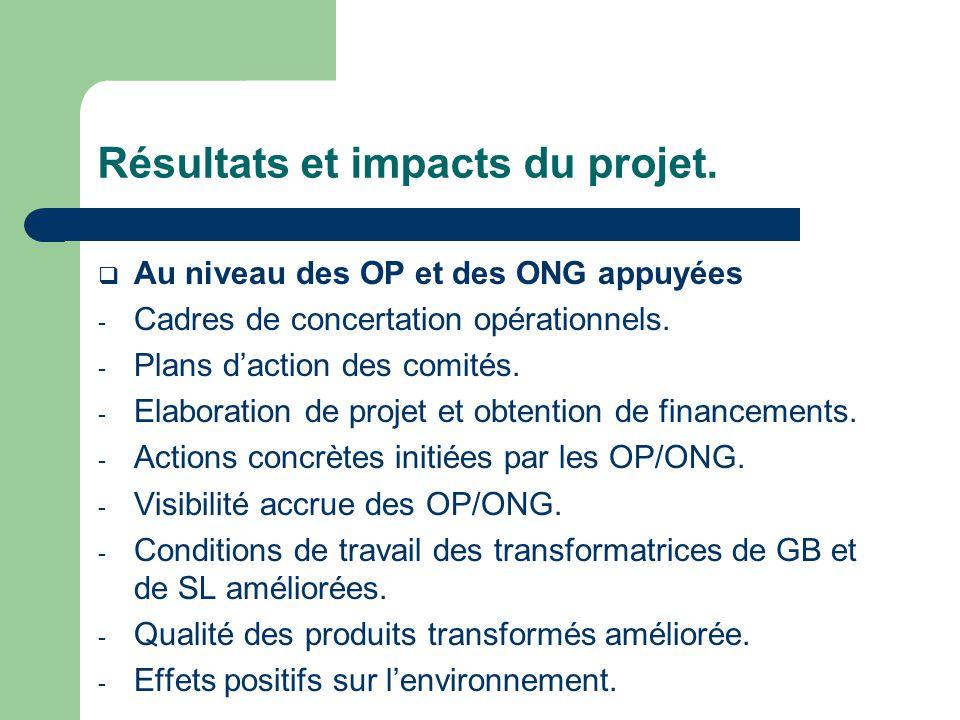Résultats et impacts du projet.