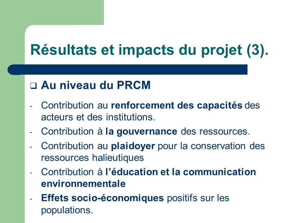 Résultats et impacts du projet (3).
