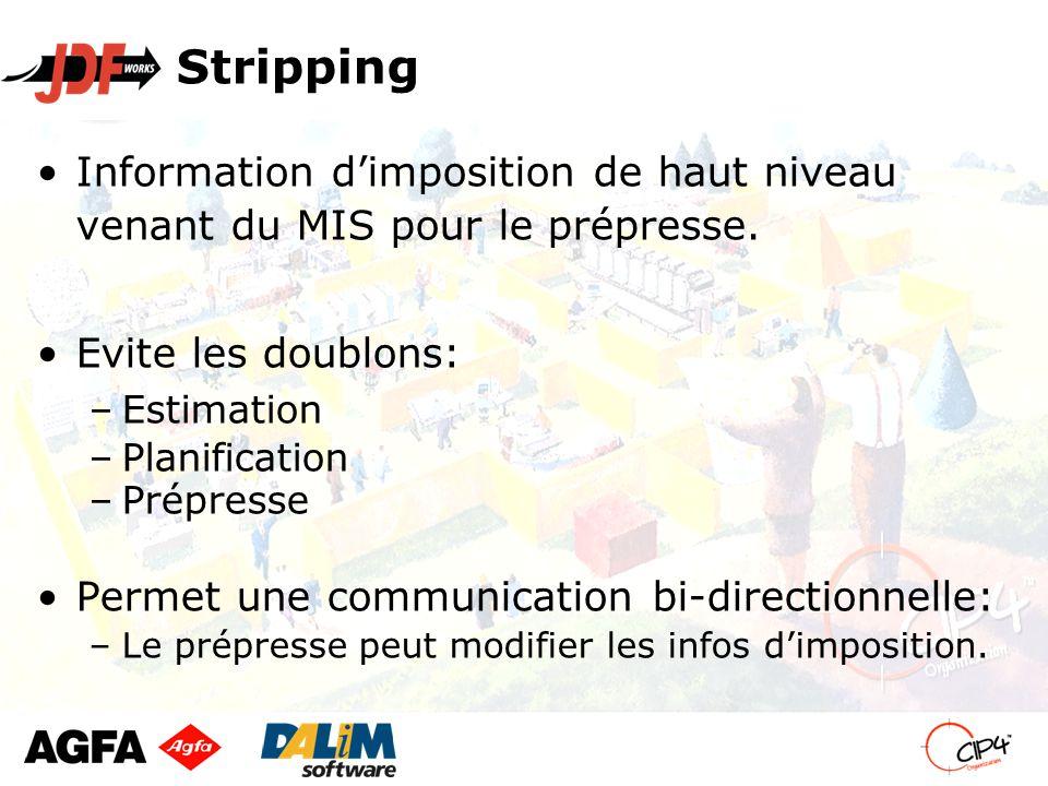 Stripping Information d'imposition de haut niveau venant du MIS pour le prépresse.