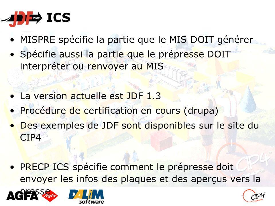 ICS MISPRE spécifie la partie que le MIS DOIT générer Spécifie aussi la partie que le prépresse DOIT interpréter ou renvoyer au MIS La version actuelle est JDF 1.3 Procédure de certification en cours (drupa) Des exemples de JDF sont disponibles sur le site du CIP4 PRECP ICS spécifie comment le prépresse doit envoyer les infos des plaques et des aperçus vers la presse To finish