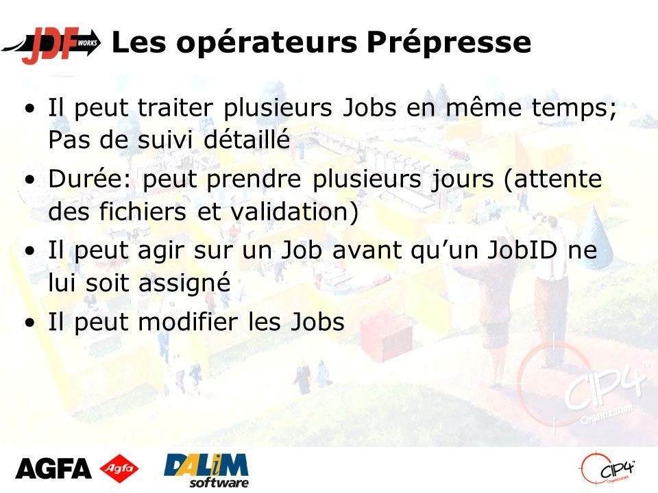 Les opérateurs Prépresse Il peut traiter plusieurs Jobs en même temps; Pas de suivi détaillé Durée: peut prendre plusieurs jours (attente des fichiers et validation) Il peut agir sur un Job avant qu'un JobID ne lui soit assigné Il peut modifier les Jobs