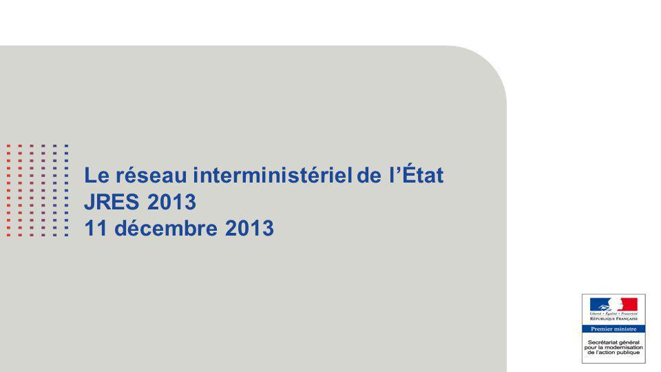 1 Le réseau interministériel de l'État JRES 2013 11 décembre 2013