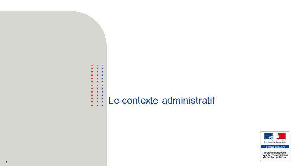 4 Le contexte administratif : le « numérique » interministériel  Février 2011: création de la direction interministérielle des systèmes d'information, rattachée au Secrétaire Général du Gouvernement : −« DSI groupe » de l'État −Elle a notamment en charge la conduite des opérations de mutualisation entre les administrations de l'État  Octobre 2012: création du secrétariat général de la modernisation de l'action publique −Regroupant l ensemble des services en charge de la MAP : −La direction interministérielle de la modernisation de l'État (DIMAP) −La direction interministérielle des systèmes d'information et de communication (DISIC) −La mission Etalab −Placé sous l'autorité du Premier ministre, rattaché au secrétaire général du Gouvernement et mis à disposition de la ministre de la réforme de l'État.