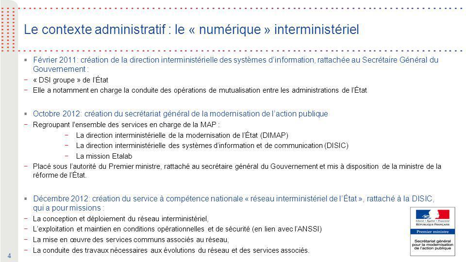 4 Le contexte administratif : le « numérique » interministériel  Février 2011: création de la direction interministérielle des systèmes d'information