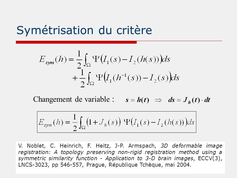 Symétrisation du critère Changement de variable : V. Noblet, C. Heinrich, F. Heitz, J-P. Armspach, 3D deformable image registration: A topology preser