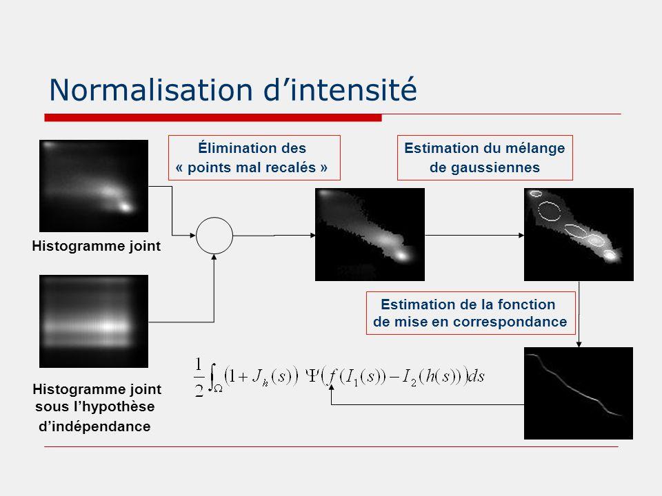 Normalisation d'intensité Histogramme joint sous l'hypothèse d'indépendance Élimination des « points mal recalés » Estimation du mélange de gaussienne