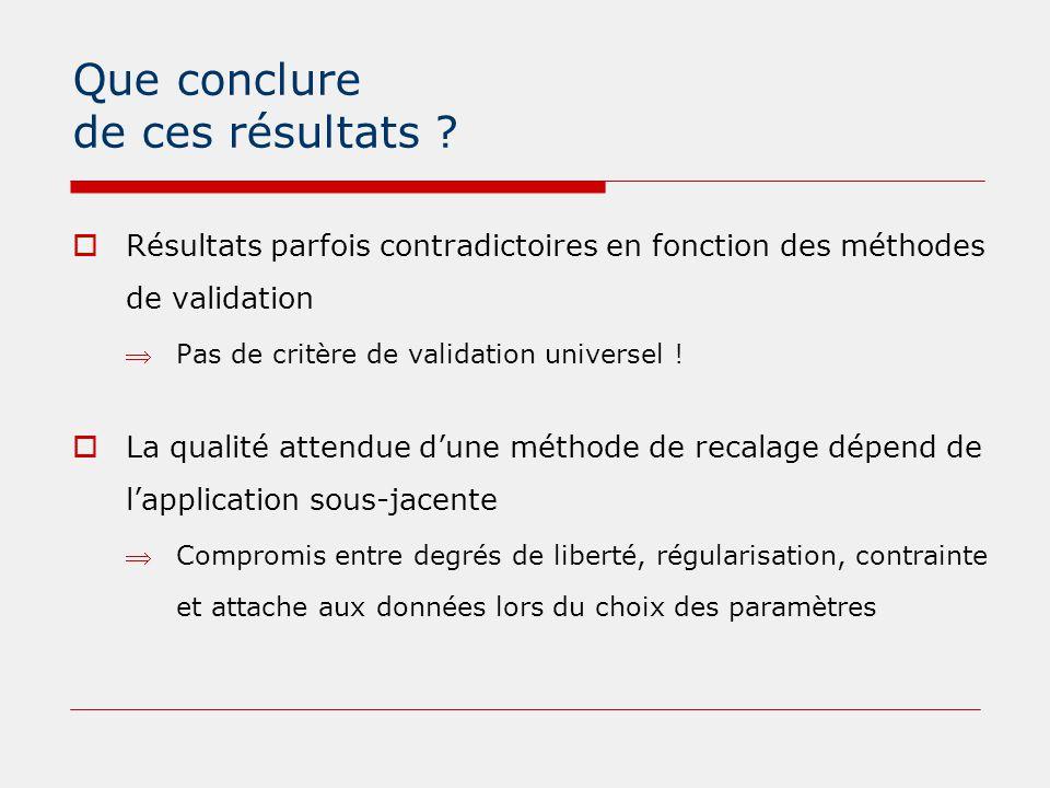 Que conclure de ces résultats ?  Résultats parfois contradictoires en fonction des méthodes de validation Pas de critère de validation universel ! 