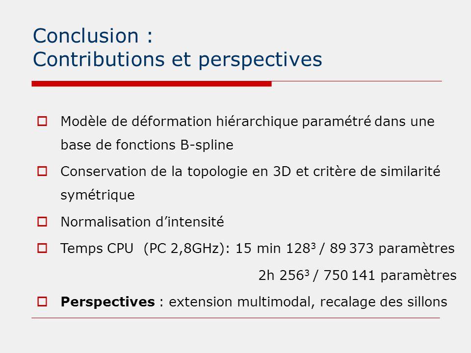 Conclusion : Contributions et perspectives  Modèle de déformation hiérarchique paramétré dans une base de fonctions B-spline  Conservation de la top