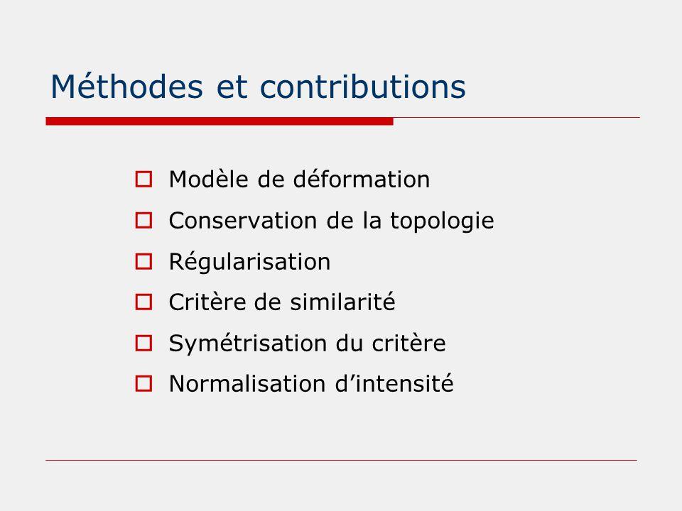 Méthodes et contributions  Modèle de déformation  Conservation de la topologie  Régularisation  Critère de similarité  Symétrisation du critère 