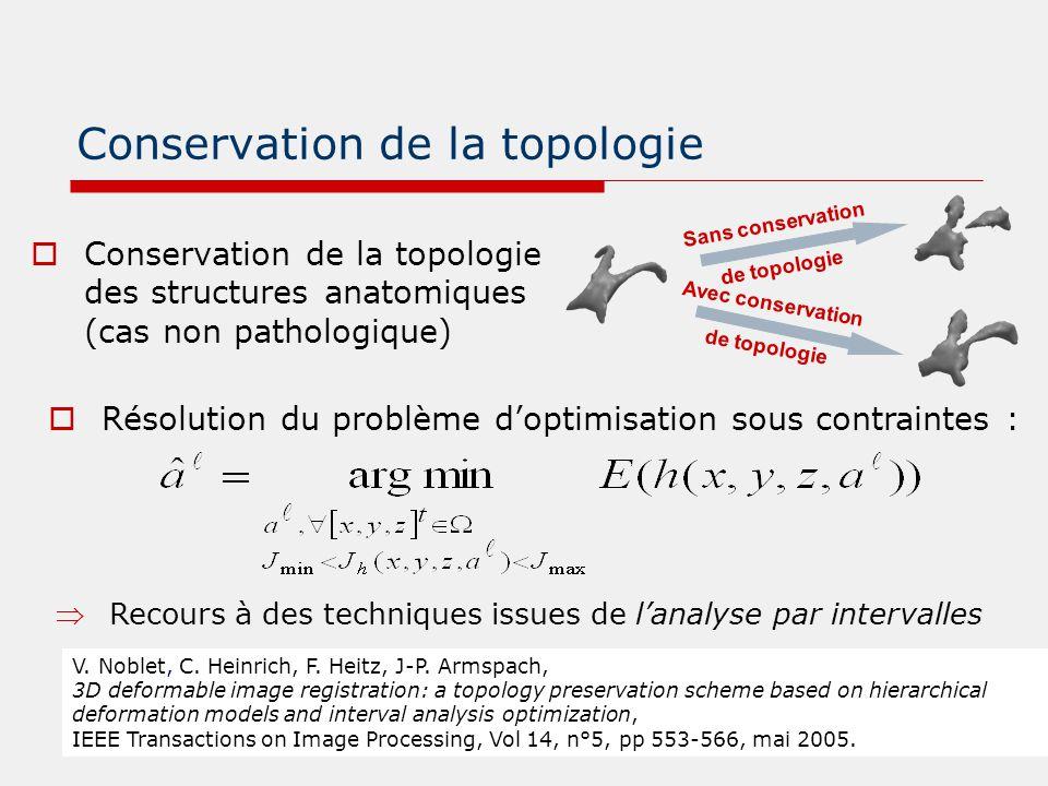 Conservation de la topologie  Conservation de la topologie des structures anatomiques (cas non pathologique) Sans conservation de topologie Avec cons