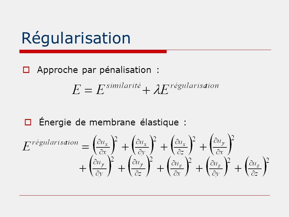 Régularisation  Approche par pénalisation :  Énergie de membrane élastique :