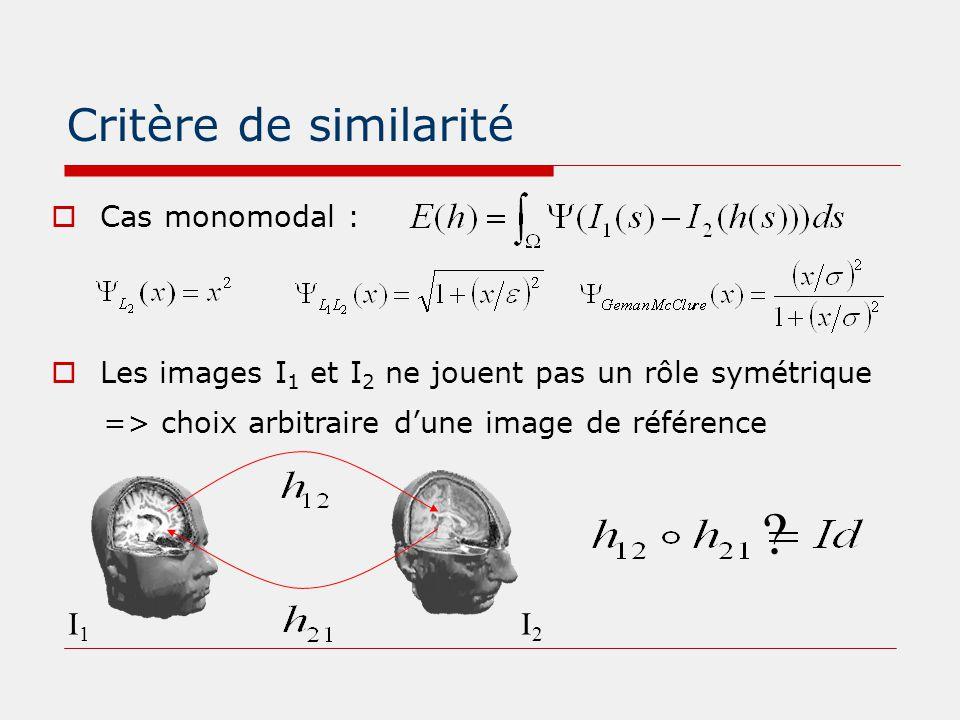 Critère de similarité  Cas monomodal :  Les images I 1 et I 2 ne jouent pas un rôle symétrique => choix arbitraire d'une image de référence I1I1 I2I