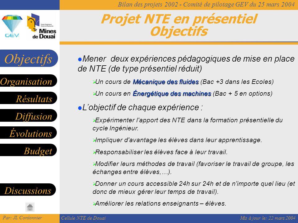 Mis à jour le: 22 mars 2004 Par: JL Cordonnier Cellule NTE de Douai Bilan des projets 2002 - Comité de pilotage GEV du 25 mars 2004 Projet NTE en présentiel Objectifs Objectifs Mener deux expériences pédagogiques de mise en place de NTE (de type présentiel réduit) Mener deux expériences pédagogiques de mise en place de NTE (de type présentiel réduit)  Un cours de Mécanique des fluides (Bac +3 dans les Ecoles)  Un cours en Énergétique des machines (Bac + 5 en options) L'objectif de chaque expérience : L'objectif de chaque expérience :  Expérimenter l apport des NTE dans la formation présentielle du cycle Ingénieur.