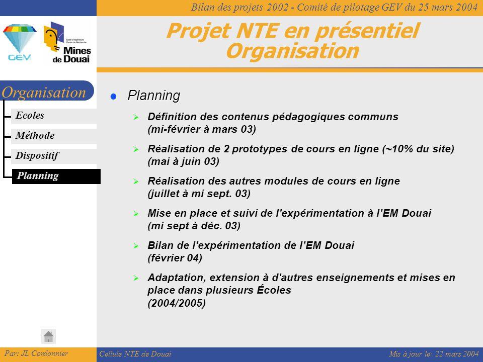 Mis à jour le: 22 mars 2004 Par: JL Cordonnier Cellule NTE de Douai Bilan des projets 2002 - Comité de pilotage GEV du 25 mars 2004 Projet NTE en présentiel Organisation Organisation Planning Planning Planning  Définition des contenus pédagogiques communs (mi-février à mars 03)  Réalisation de 2 prototypes de cours en ligne (~10% du site) (mai à juin 03)  Réalisation des autres modules de cours en ligne (juillet à mi sept.