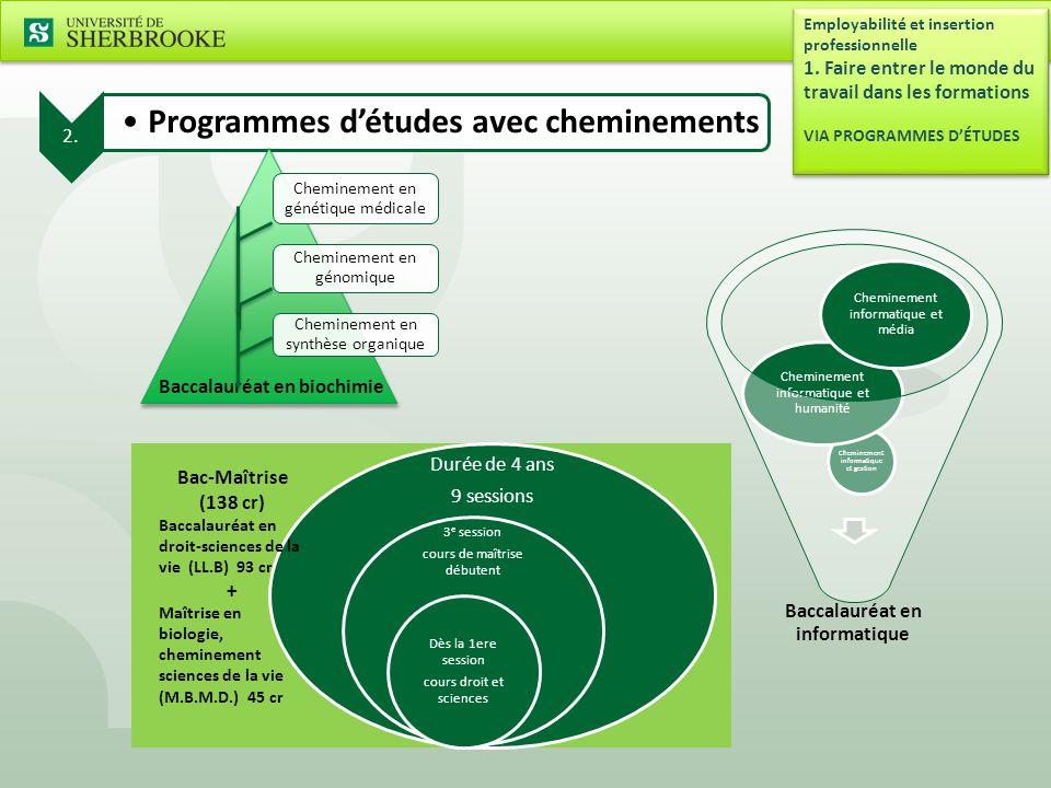 2.Programmes d'études avec cheminements Employabilité et insertion professionnelle 1.