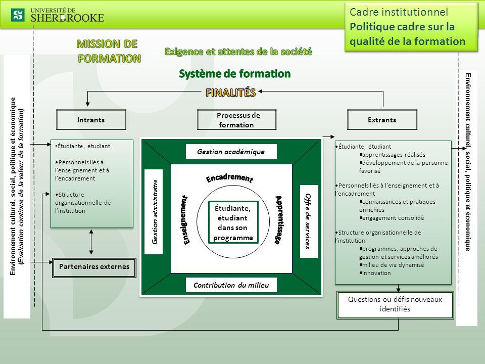 4  Acquisition, application et développement du savoir  Développement intellectuel  Compétences linguistiques  Communication et habiletés relationnelles  Éthique  Autonomie et responsabilités Finalités de formation Cadre institutionnel Politique cadre sur la qualité de la formation