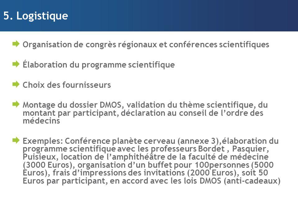 5. Logistique  Organisation de congrès régionaux et conférences scientifiques  Élaboration du programme scientifique  Choix des fournisseurs  Mont