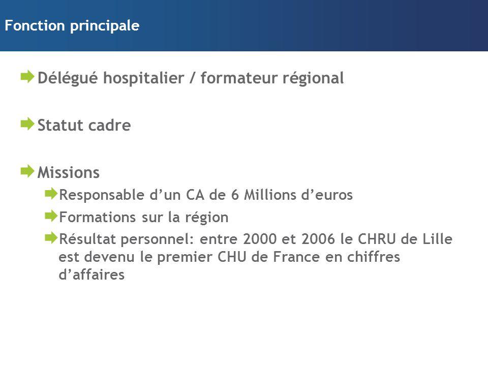 Fonction principale  Délégué hospitalier / formateur régional  Statut cadre  Missions  Responsable d'un CA de 6 Millions d'euros  Formations sur