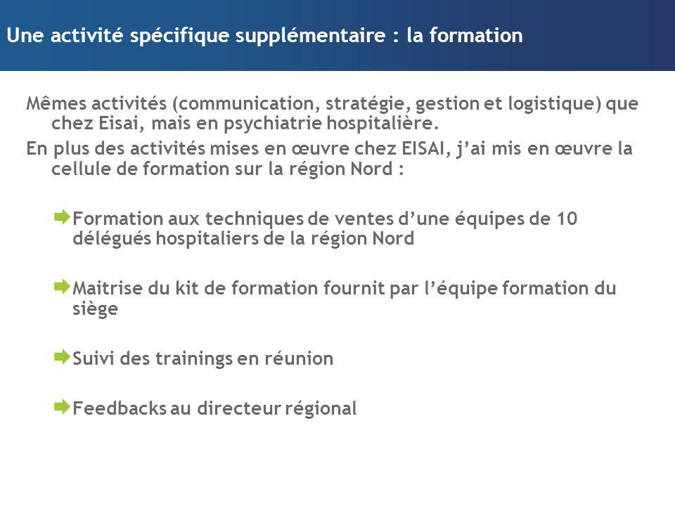Une activité spécifique supplémentaire : la formation Mêmes activités (communication, stratégie, gestion et logistique) que chez Eisai, mais en psychi