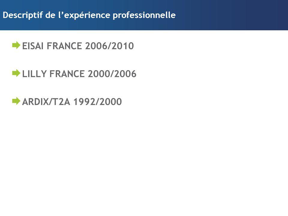 Descriptif de l'expérience professionnelle  EISAI FRANCE 2006/2010  LILLY FRANCE 2000/2006  ARDIX/T2A 1992/2000