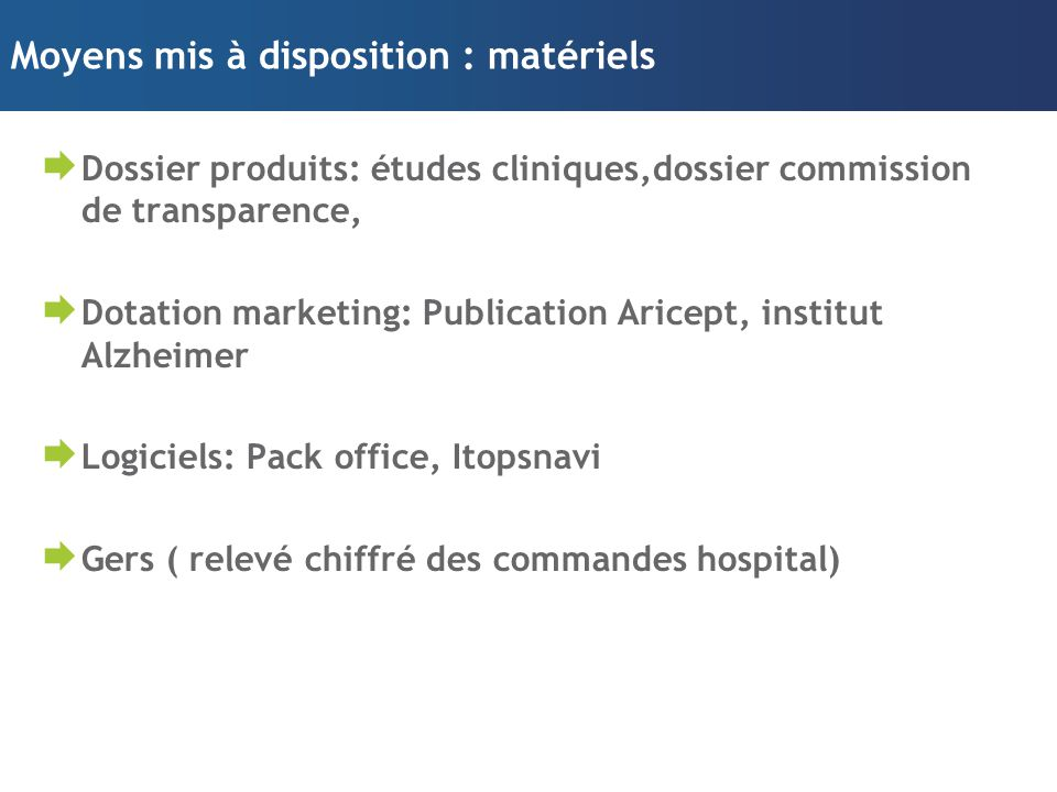 Moyens mis à disposition : matériels  Dossier produits: études cliniques,dossier commission de transparence,  Dotation marketing: Publication Aricept, institut Alzheimer  Logiciels: Pack office, Itopsnavi  Gers ( relevé chiffré des commandes hospital)