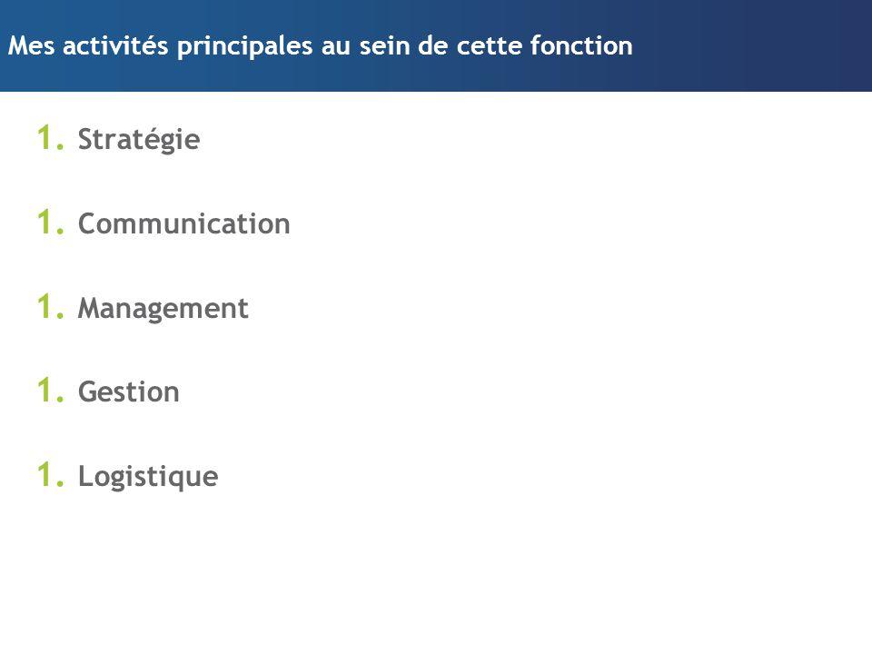 Mes activités principales au sein de cette fonction 1. Stratégie 1. Communication 1. Management 1. Gestion 1. Logistique