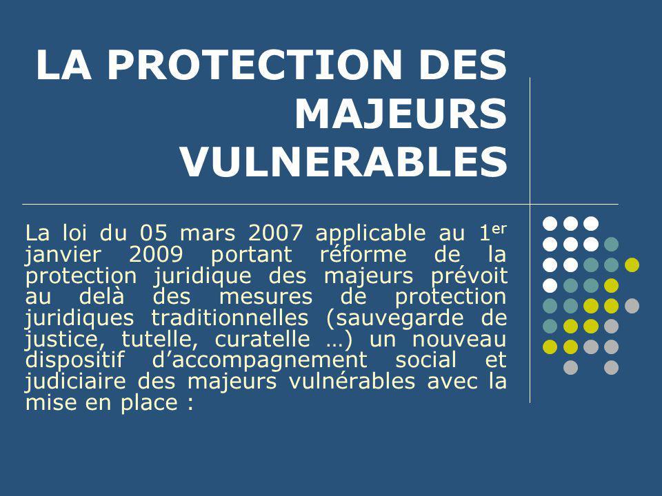 La protection des majeurs vulnérables à un premier niveau des Mesures d'accompagnement social personnalisé (MASP) mises en œuvre par les départements, et en cas d'échec ou d'impossibilité, des Mesures d'accompagnement judiciaire (MAJ), décidées par le juge des tutelles.
