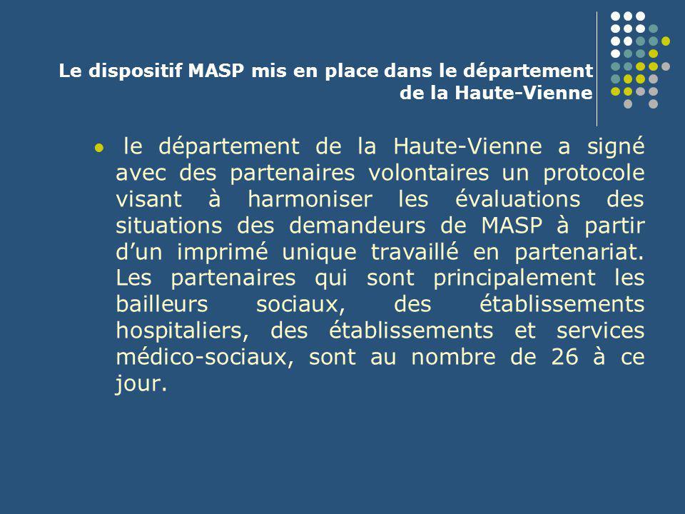 Le dispositif MASP mis en place dans le département de la Haute-Vienne le département de la Haute-Vienne a signé avec des partenaires volontaires un p