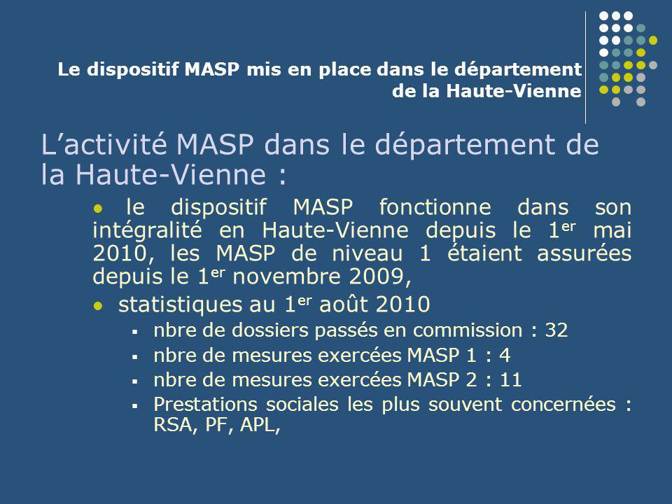Le dispositif MASP mis en place dans le département de la Haute-Vienne L'activité MASP dans le département de la Haute-Vienne : le dispositif MASP fon