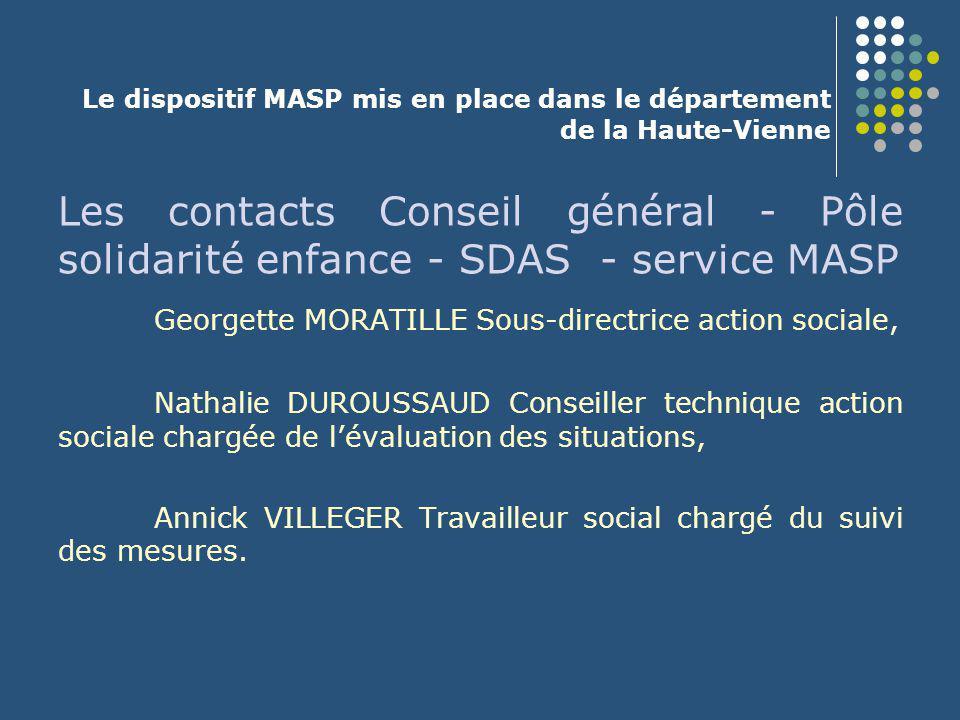 Le dispositif MASP mis en place dans le département de la Haute-Vienne Les contacts Conseil général - Pôle solidarité enfance - SDAS - service MASP Ge