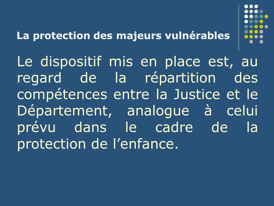 La protection des majeurs vulnérables Le dispositif mis en place est, au regard de la répartition des compétences entre la Justice et le Département,