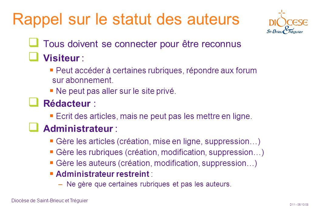D11 - 06/10/08 Diocèse de Saint-Brieuc et Tréguier Rappel sur le statut des auteurs  Tous doivent se connecter pour être reconnus  Visiteur :  Peut accéder à certaines rubriques, répondre aux forum sur abonnement.