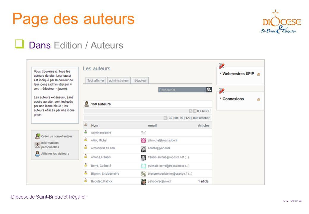 D12 - 06/10/08 Diocèse de Saint-Brieuc et Tréguier Page des auteurs  Dans Edition / Auteurs