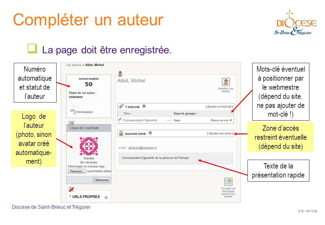 D15 - 06/10/08 Diocèse de Saint-Brieuc et Tréguier Compléter un auteur  La page doit être enregistrée. Numéro automatique et statut de l'auteur Mots-