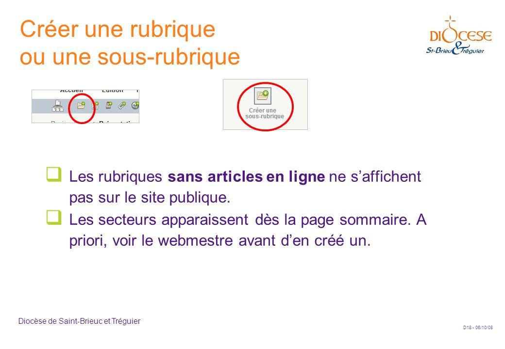 D18 - 06/10/08 Diocèse de Saint-Brieuc et Tréguier Créer une rubrique ou une sous-rubrique  Les rubriques sans articles en ligne ne s'affichent pas sur le site publique.