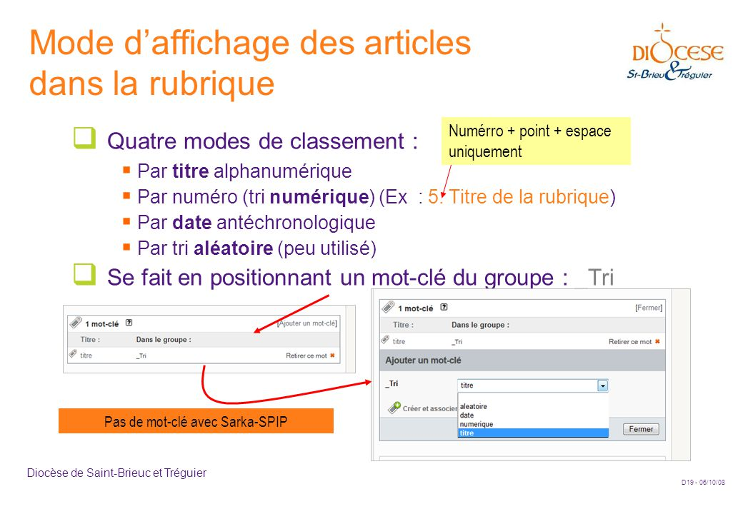 D19 - 06/10/08 Diocèse de Saint-Brieuc et Tréguier Mode d'affichage des articles dans la rubrique  Quatre modes de classement :  Par titre alphanumérique  Par numéro (tri numérique) (Ex : 5.