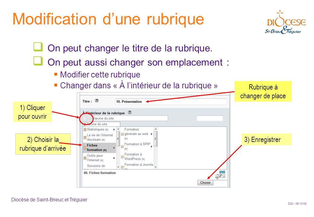D20 - 06/10/08 Diocèse de Saint-Brieuc et Tréguier Modification d'une rubrique  On peut changer le titre de la rubrique.