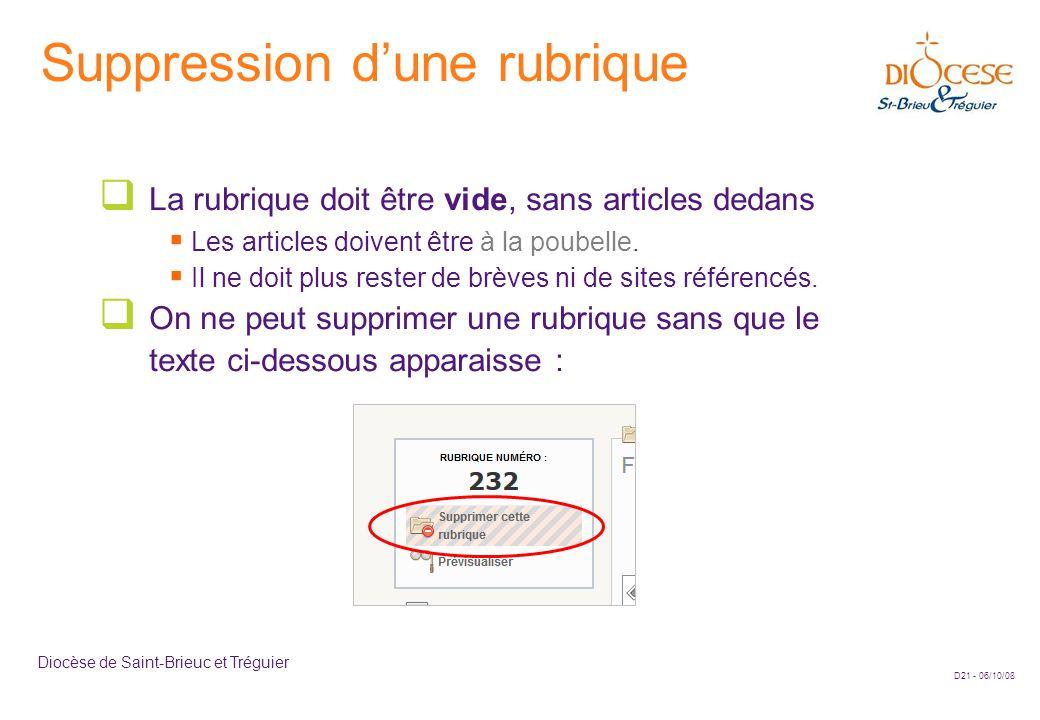 D21 - 06/10/08 Diocèse de Saint-Brieuc et Tréguier Suppression d'une rubrique  La rubrique doit être vide, sans articles dedans  Les articles doivent être à la poubelle.